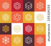 vector linear hexagon logos and ... | Shutterstock .eps vector #255109255