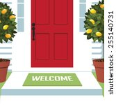 welcome spring wreath mat at... | Shutterstock .eps vector #255140731