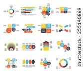 set of 16 infographics... | Shutterstock .eps vector #255140869