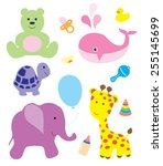vector baby shower card with... | Shutterstock .eps vector #255145699