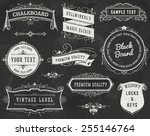 chalkboard vintage ornaments ... | Shutterstock .eps vector #255146764