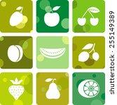fruit icons | Shutterstock .eps vector #255149389