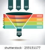 funnel flow chart template with ... | Shutterstock .eps vector #255151177
