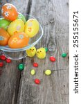 easter composition on wooden...   Shutterstock . vector #255155671