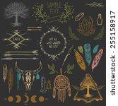 set of symmetrical graphic... | Shutterstock .eps vector #255158917