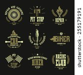 car races and service badges... | Shutterstock .eps vector #255179191