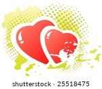 two cartoon hearts on a green... | Shutterstock .eps vector #25518475