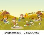 group of cartoon explorer boys...   Shutterstock .eps vector #255200959