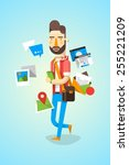 colourful hipster character... | Shutterstock .eps vector #255221209
