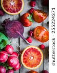 red fruits and vegetables on... | Shutterstock . vector #255224371
