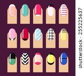 vector set of trendy nail... | Shutterstock .eps vector #255225637