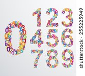 vector numbers from number set. ... | Shutterstock .eps vector #255225949