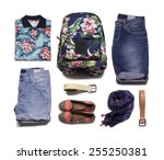 collection of colorful clothes... | Shutterstock . vector #255250381
