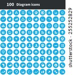 100 diagram icons  blue circle... | Shutterstock . vector #255252829