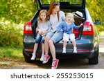 two adorable little sisters and ... | Shutterstock . vector #255253015