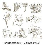 Hand Drawn Wales Symbols Sketc...