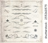 collection of calligraphic and... | Shutterstock .eps vector #255263575
