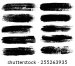 black ink vector brush strokes | Shutterstock .eps vector #255263935