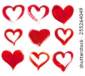 hand drawn painted heart ... | Shutterstock .eps vector #255264049