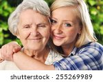 grandmother and granddaughter.... | Shutterstock . vector #255269989