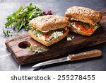 sandwich with cereals bread and ... | Shutterstock . vector #255278455