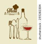 restaurant design over beige... | Shutterstock .eps vector #255282304