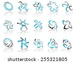 abstract icons composed of blue ... | Shutterstock .eps vector #255321805