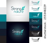 logos design whit leaves  ... | Shutterstock .eps vector #255348229