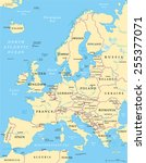 europe political map and the... | Shutterstock .eps vector #255377071