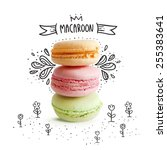 cute macaroon with doodles. ... | Shutterstock .eps vector #255383641