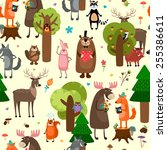 happy forest animals seamless... | Shutterstock .eps vector #255386611