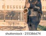 beautiful young woman playing... | Shutterstock . vector #255386674