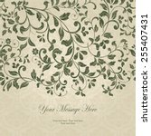 vintage card with damask... | Shutterstock .eps vector #255407431