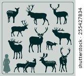deer silhouette set | Shutterstock .eps vector #255427834