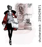 woman near saint michel in...   Shutterstock .eps vector #255429871