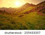 Beautiful mountain landscape at sunset, Dolomites - Italy - stock photo