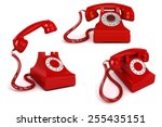 3d vintage red phone on white... | Shutterstock . vector #255435151