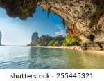 famous phranang cave at raylay... | Shutterstock . vector #255445321
