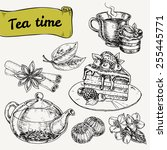 set of elements for tea time.... | Shutterstock .eps vector #255445771