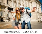 young beautiful friends tourist ... | Shutterstock . vector #255447811