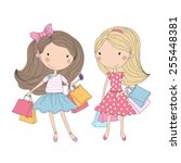 Shopping Girls. Cute Girls Wit...