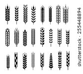 wheat ear icon set  leaves... | Shutterstock . vector #255448894