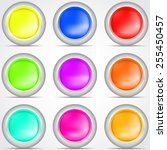 set of colored buttons with... | Shutterstock .eps vector #255450457