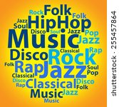 text cloud. music wordcloud.... | Shutterstock . vector #255457864