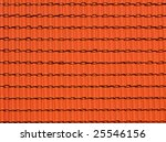 abstract background made of bright red roofing tiles - stock photo