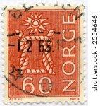 vintage postage stamp world ephemera norway - stock photo