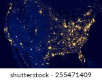 nocturnal aerial view of the u... | Shutterstock . vector #255471409