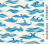 seamless pattern waves from... | Shutterstock .eps vector #255486067