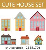 6 cute vector house icon set... | Shutterstock .eps vector #25551706