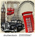 london vintage poster. | Shutterstock .eps vector #255555067